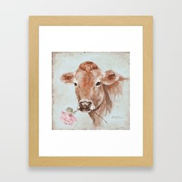Cow with Rose by Debi Coules Framed Art Print