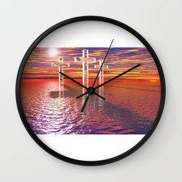 Christian crosses on red sea Wall Clock