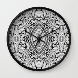 Elegant Black White Floral Lace Damask Pattern Wall Clock