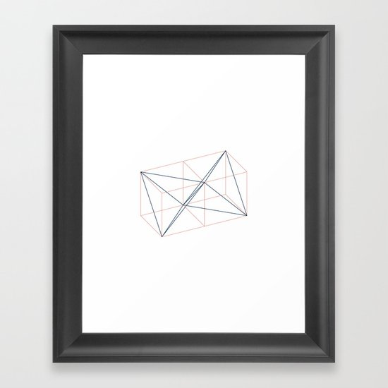 #346 Two tetrahedrons in adjacent cubes – Geometry Daily Framed Art Print