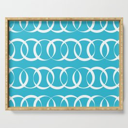Sky blue and white elegant intersecting circles pattern Serving Tray