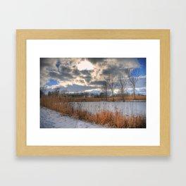 Cattail Cloudscape Framed Art Print