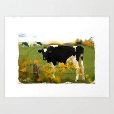 Cow Folk Art Print