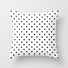 Classic Large Black Polkadot on White Throw Pillow