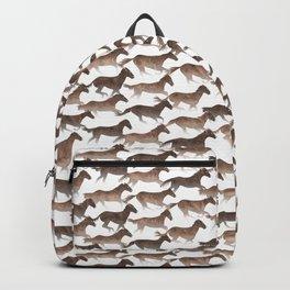 Running Watercolor Horses Brown Backpack