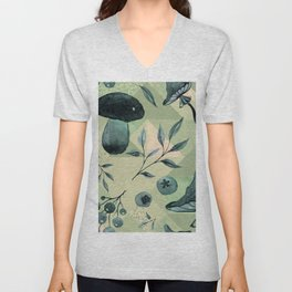 Mushrooms & blueberries pattern muted green tones Unisex V-Neck