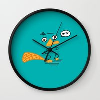 platypus Wall Clocks featuring Perry the Platypus by Janice Wong