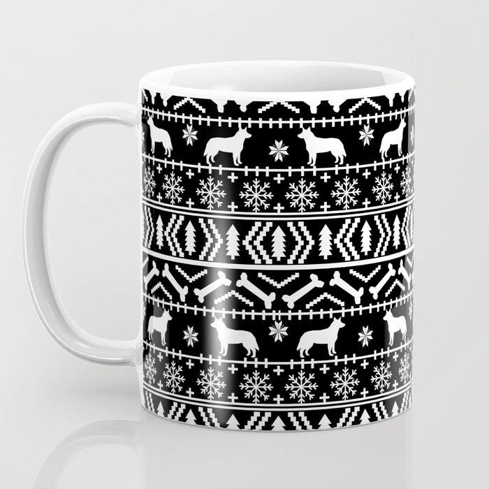 Australian Cattle Dog christmas fair isle pattern pet portrait holiday designs for dog lover Coffee Mug