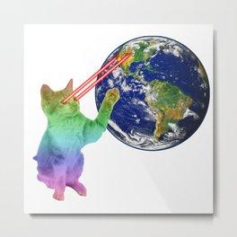 Laser-Eyes Cat - Psychedelic Metal Print