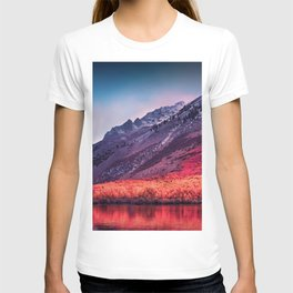 Colorful landscape of mountains by the lake T-shirt