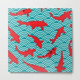 Koi carp. Red fish. black outline sketch doodle. azure teal burgundy maroon Nature oriental backgrou Metal Print