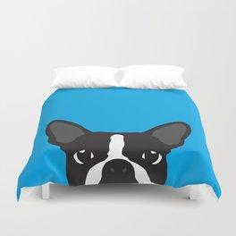 Boston Terrier Blue Duvet Cover