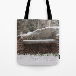 Snow Covered Bench Photography Tote Bag