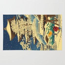 Japanese Woodblock Print Vintage Asian Art Colorful woodblock prints Shrine At Night Snow White Rug