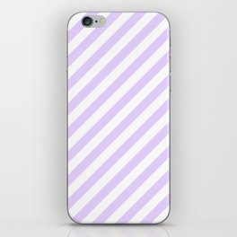 Chalky Pale Lilac Pastel and White Candy Cane Stripes iPhone Skin