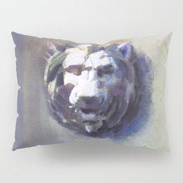 Lion Head White Marble Pillow Sham