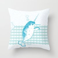narwhal Throw Pillows featuring Narwhal by 。i。f。studio