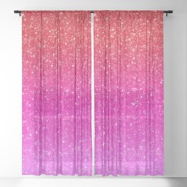 Red/Pink Glitter Gradient Sheer Curtain