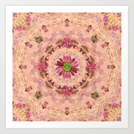 Pink Kaleidoscope with Flowers Art Print