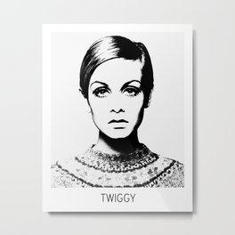 Twiggy, Illustration, Scandinavian, Minimalist, Modern, Wall Art Metal Print
