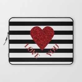 LOVE YOU Valentine print. Red glitter heart and black stripes congratulation card Laptop Sleeve