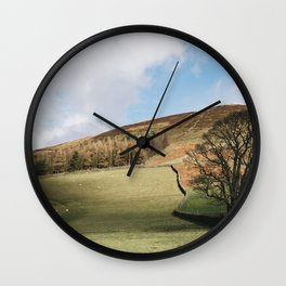 Sunlit tree and hillside. Edale, Derbyshire, UK. Wall Clock
