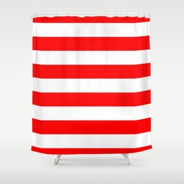 Australian Flag Red and White Wide Horizontal Cabana Tent Stripe Shower Curtain