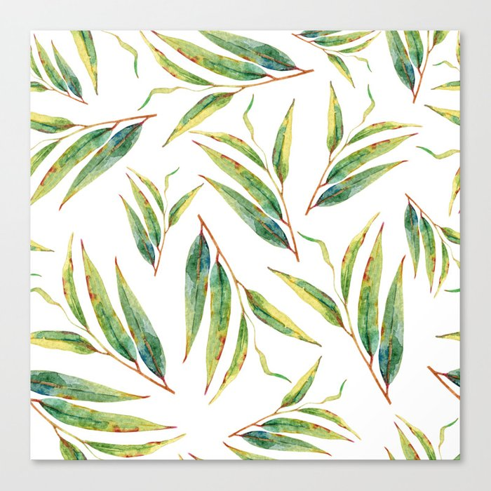 leaves watercolor pattern Canvas Print
