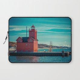 Holland Harbor Pierhead Light aka Big Red Lighthouse on Lake Michigan Laptop Sleeve