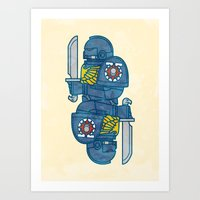 warhammer Art Prints featuring Space Marine - Warhammer 40k by M. Gulin