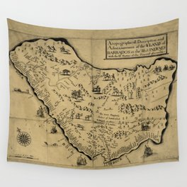 Vintage Barbados Pictorial Map (1657) Wall Tapestry