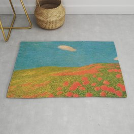 Red Poppies Tuscany Pastoral Landscape by Gaetano Previati Rug