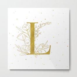 Letter L Gold Monogram / Initial Botanical Illustration Metal Print