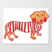 daschund Canvas Prints featuring Sausage Dog by sophieheywood
