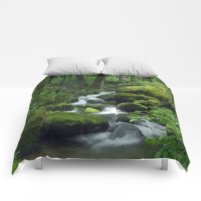 Summer Forest Brook Comforters