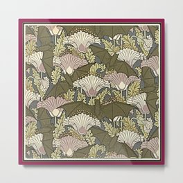 Burgundy Trimmed Art  Nouveau Bats & Poppy Patterns Metal Print