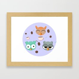 Owl pattern coffeee Framed Art Print