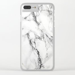 White Marble Texture Clear iPhone Case