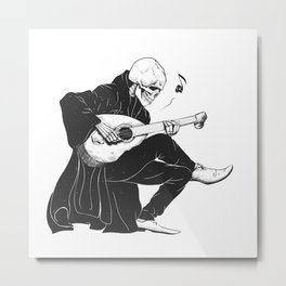 Minstrel playing guitar,grim reaper musician cartoon,gothic skull,medieval skeleton,death poet illus Metal Print