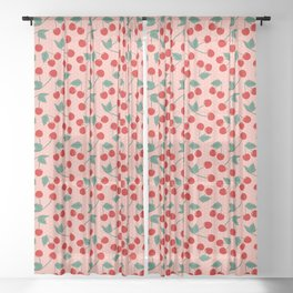 Cherry Kitsch on Pink Sheer Curtain