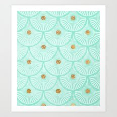 Teal and Gold Art Print