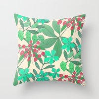 botanical Throw Pillows featuring Botanical by Louise Elizabeth