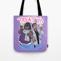 enerjax Tote Bags featuring Treat Yo Self by enerjax