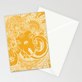Ganesha Lineart Yellow White Stationery Cards