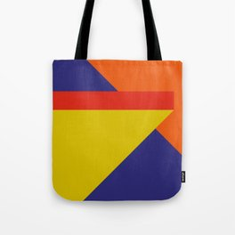 Random colored parallelepipeds flying in a cool blue space Tote Bag