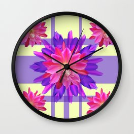 Lilac-Cream color Fuchsia Orchid Cactus Flowers Psttern Wall Clock