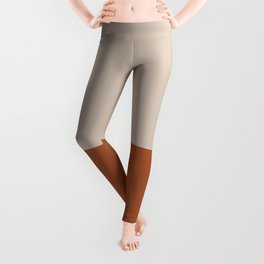 Minimalist Solid Color Block 1 in Putty and Clay Leggings