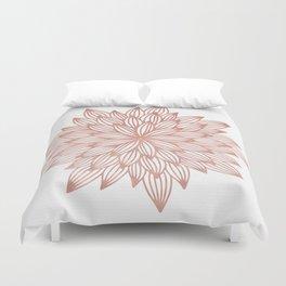 Mandala Flowery Rose Gold on White Duvet Cover