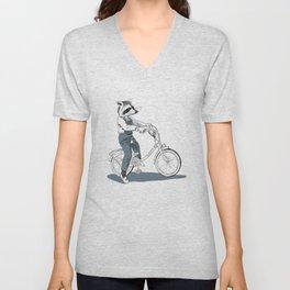 Raccoon bike Unisex V-Neck