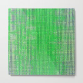 Green translucent wavy lines hovering all over the blue lines messy background Metal Print